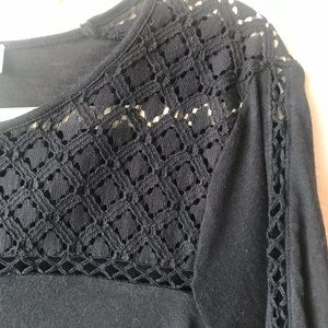 LOFT Black, long sleeved, open embroidered top, S